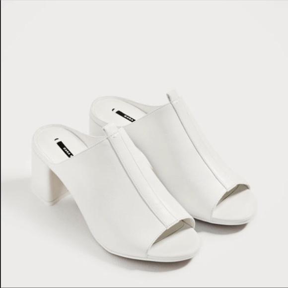 Zara Shoes | White Mules | Poshmark